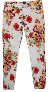 bebe Floral Print Stretch Jeans Skinny Pants MULTICOLOR