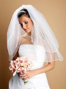 Mariell White Medium Two Layer with Rounded Satin Cord Edge 226v-24-w Bridal Veil