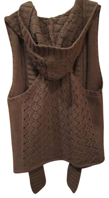 Bongo Sweater Hooded Vest Highlow Loose Knit Brown Racer-back Cardigan