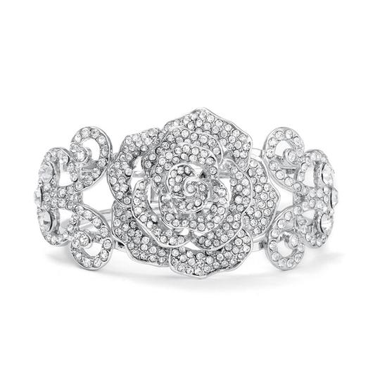 Preload https://item1.tradesy.com/images/mariell-silver-pave-designer-etched-rose-cuff-3018b-bracelet-3949000-0-0.jpg?width=440&height=440