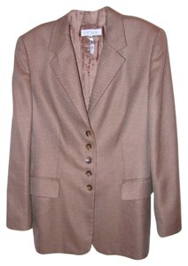Escada Cashmere Herringbone Tweed Jacket Light Brown Blazer