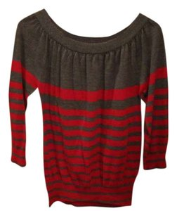 The Limited Stripe 3/4 Sleeve Red Sweater