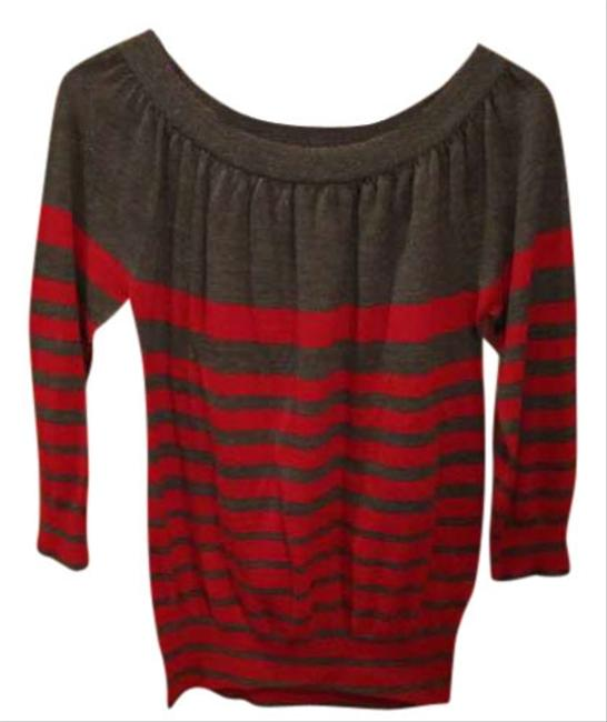 The Limited Stripe /4 Sleeve Red Sweater
