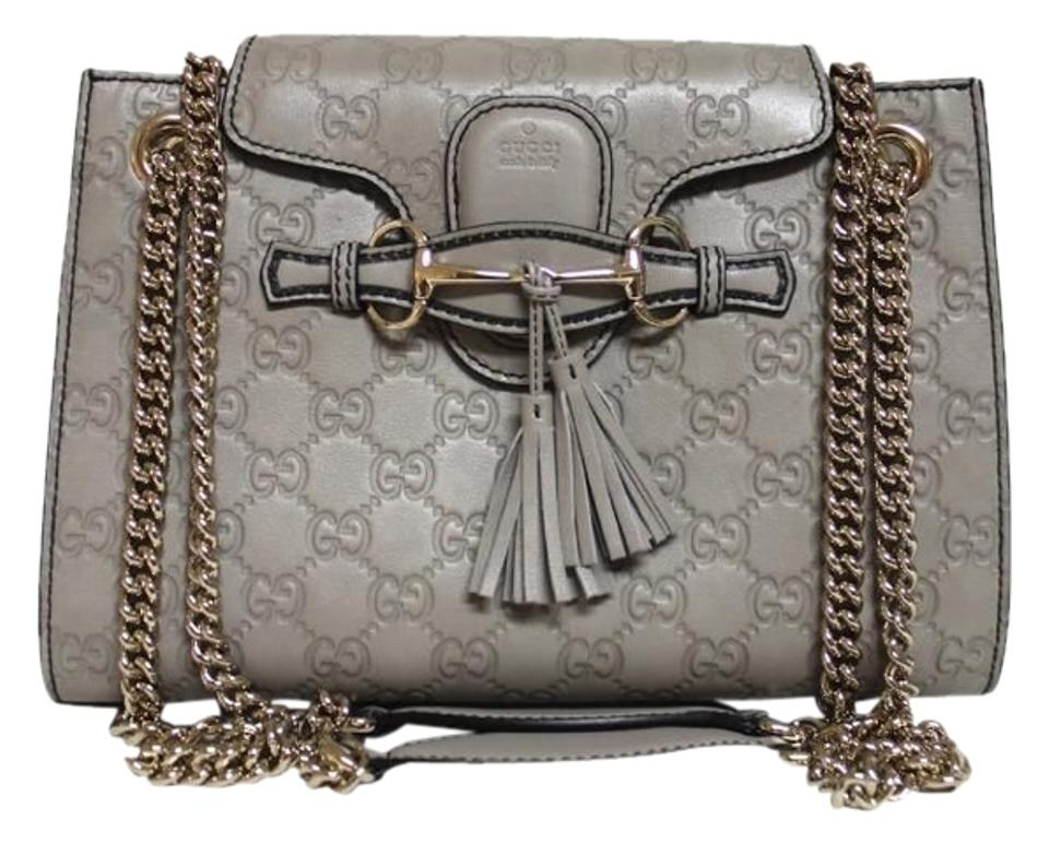 f1a6e35d9f02 Gucci Emily New Guccissima Grey Leather Shoulder Bag - Tradesy