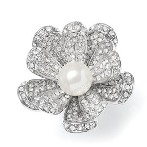 Mariell Vintage Pearl Blossom Ring With Cz 3032r-6