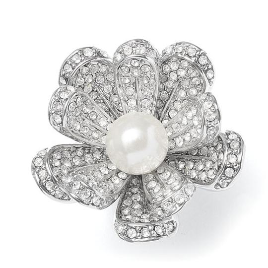 Mariell Silver Vintage Pearl Blossom with Cz 3032r-6 Ring