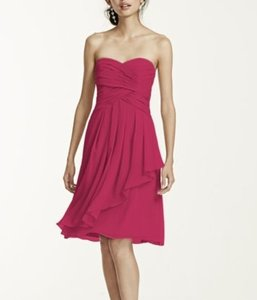 David's Bridal Watermelon Strapless Crink Chiffon Dress