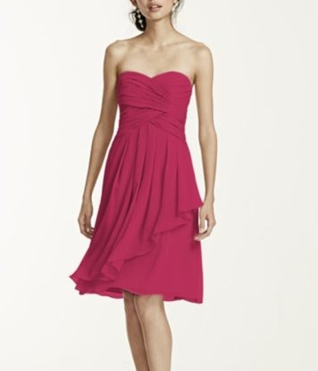 David's Bridal Watermelon Chiffon Strapless Crink Feminine Bridesmaid/Mob Dress Size 10 (M)