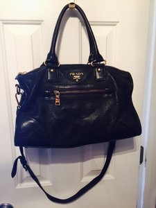 Prada Satchel in Black Deerskin