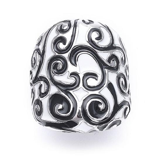 Mariell Black/White And Designer Scroll 3147r-5 Ring