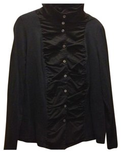 La Redoute Smooth Button Down Shirt Black Knit Tuxedo Front