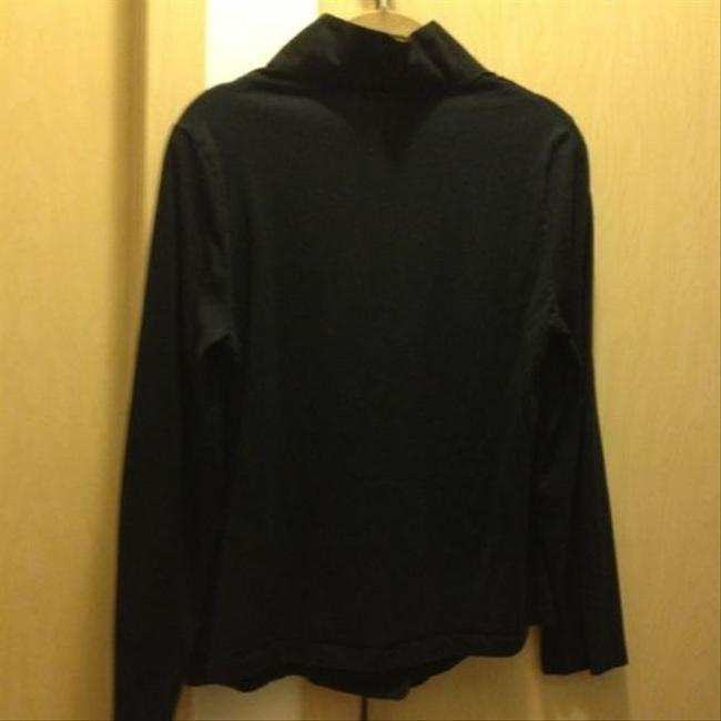 La Redoute Smooth Stretch Ruched Boutique Unusual Chic Mod Shirt Button Down Shirt Black Knit Tuxedo Front