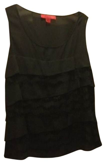 Sunset Rd Elegant Chiffon Lace Tiered Flowy Sleeveless Shell Flattering Top Black
