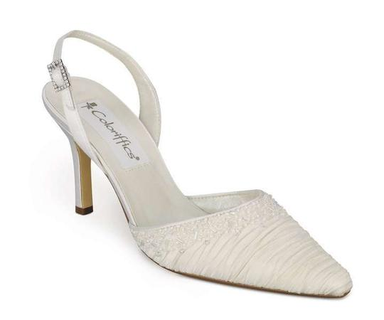 Coloriffics Ivory Silver Cherish - Pleated Satin Closed Toe W/Beading Sandals Size US 6
