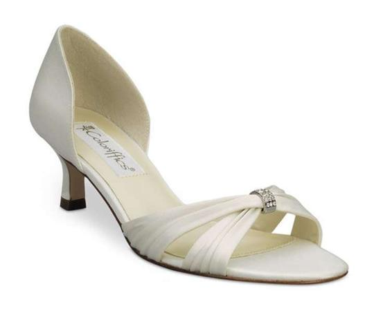 Coloriffics Ivory Silver Fantasy - Matte Satin W/Pleat Sandals Size US 6.5