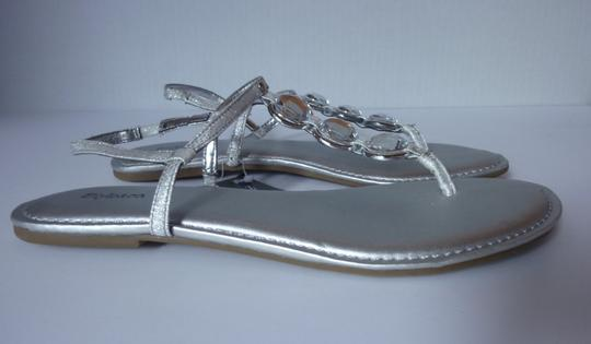 Style & Co Beaded Silver Sandals Image 1