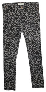 Andrea Jovine Animal Print Stretch Jeans Skinny Pants BLACK/GRAY