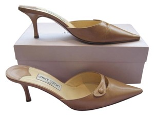 Jimmy Choo Neutral Leather Kitten Camel Mules