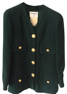 Chanel Gold Buttons Dark Green Blazer