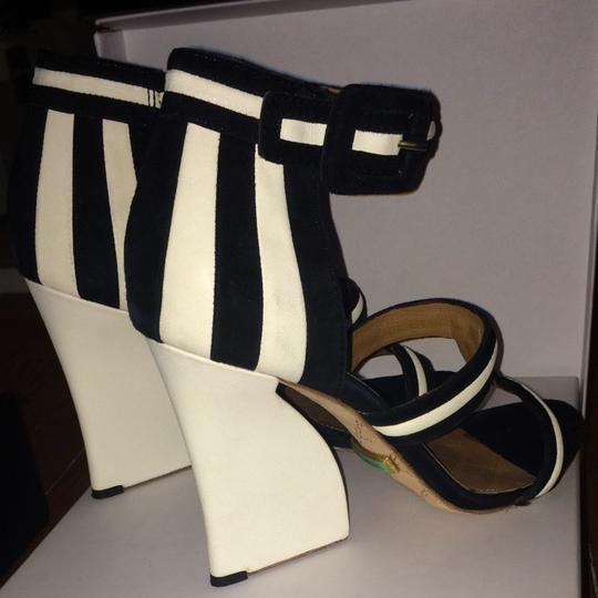 L.A.M.B. Black and White Sandals