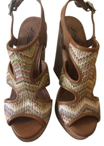 Lucky Brand Wedge Cork Lace Thread Heel Multi Wedges