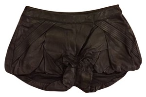 L.A.M.B. Leather Silk Lining Mini/Short Shorts Black