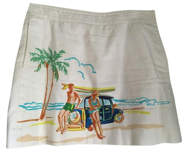 J.Crew Beach Scene Surf Pockets Lined Skirt white with graphic