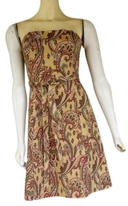 Robin Jordan short dress Multi-Colored Boned Paisley Strapless Tie Belt Tan on Tradesy