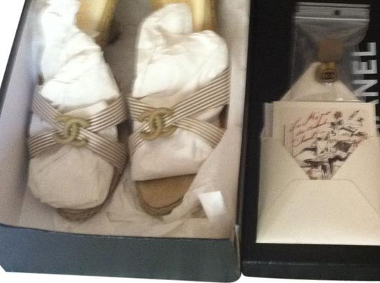 Chanel Tan/White Wedges