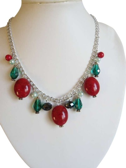 Other red gemstone beads christmas chain necklace