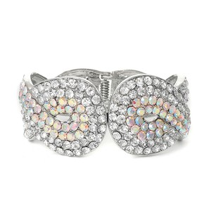 Mariell Iridescent Crystal Wedding Or Prom Cuff Bracelet 3439b