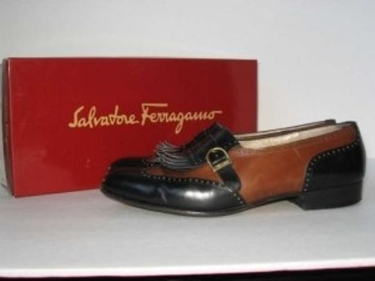 Salvatore Ferragamo Calfskin Gold Buckle Leather Two-toned Flats