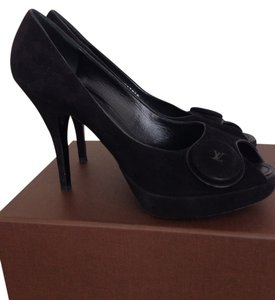 Louis Vuitton Italy Leather Suede Peep Toe Black Platforms