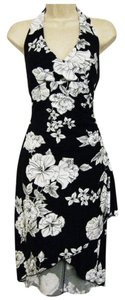 White House | Black Market short dress Black & White Halter Sheath Stretchy Polyester on Tradesy