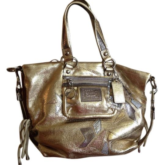 Coach Silver Hardware Patent Leather Keychain Limited Edition Satchel in Gold
