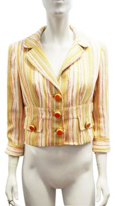 Dolce&Gabbana D&g Dolce & Gabbana Metallic Stripe Textured Cropped Jacket 8 M Multi-Color Blazer