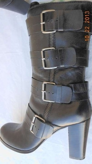 Market brand designer boots Leather Military Rocker Buckles black Boots