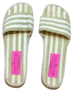 Juicy Couture Slip On Espadrille Striped mint green and white Sandals