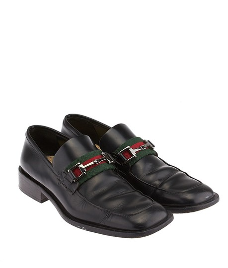 Gucci Horsebit Equestrian Loafers Leather Buckle Silver Hardware Green Red Chunky Heel Square Toe Black Flats