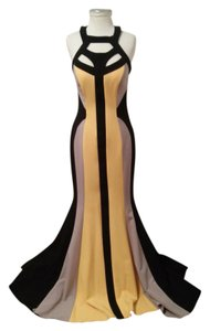 Black, Yellow and Gray Maxi Dress by Emerging New York Asymmetric Designer Kill Bill