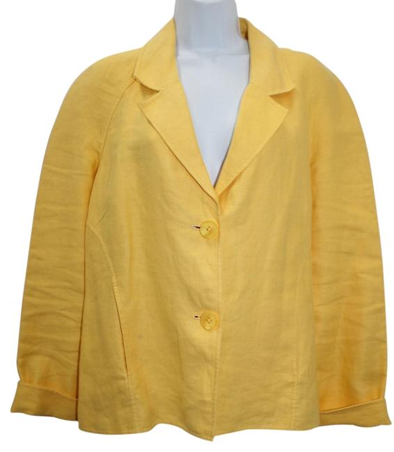 Ellen Tracy Yellow Linen Jacket Blazer Image 0