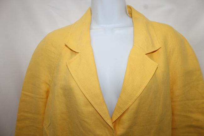 Ellen Tracy Yellow Linen Jacket Blazer Image 1