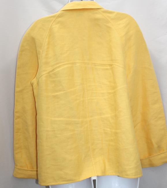 Ellen Tracy Yellow Linen Jacket Blazer Image 2