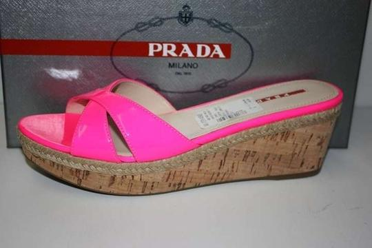 Prada Calzature Donna Cork Sandals PINK - ROSE FLUO Wedges