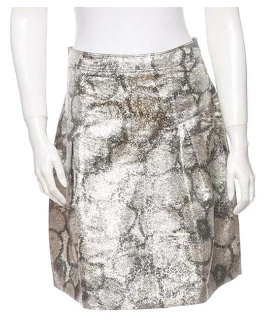 Burberry Prorsum Skirt Metallic Silver With Print