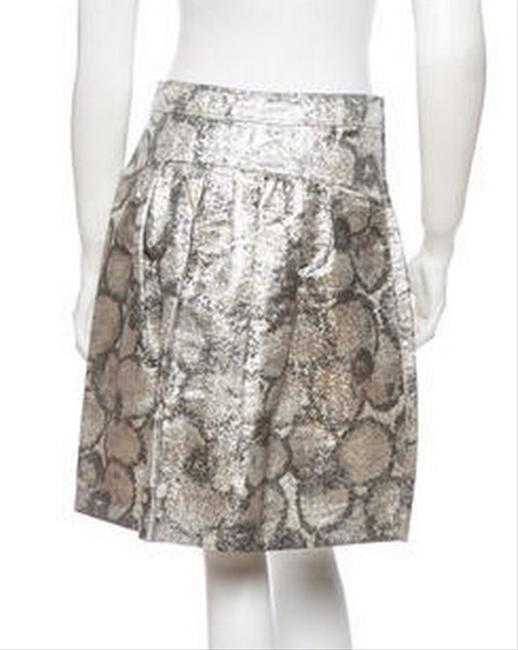 Burberry Prorsum Skirt Metallic Silver With Print Image 1