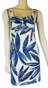 Jones New York short dress Blue Leaf Print Cotton on Tradesy