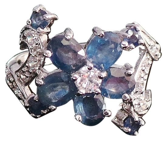 Other Natural Blue Sapphire & Zircon Sterling Silver Ring 8