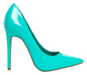 Shoe Republic LA Patent Stiletto Heel Pointed Toe Glossy SEA GREEN Pumps