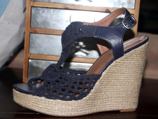 Lucky Brand Navy Blue Wedges